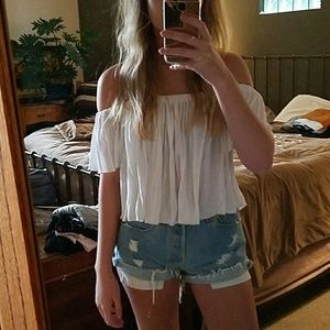 Urban Outfitters White Flowy Off the Shoulders Top